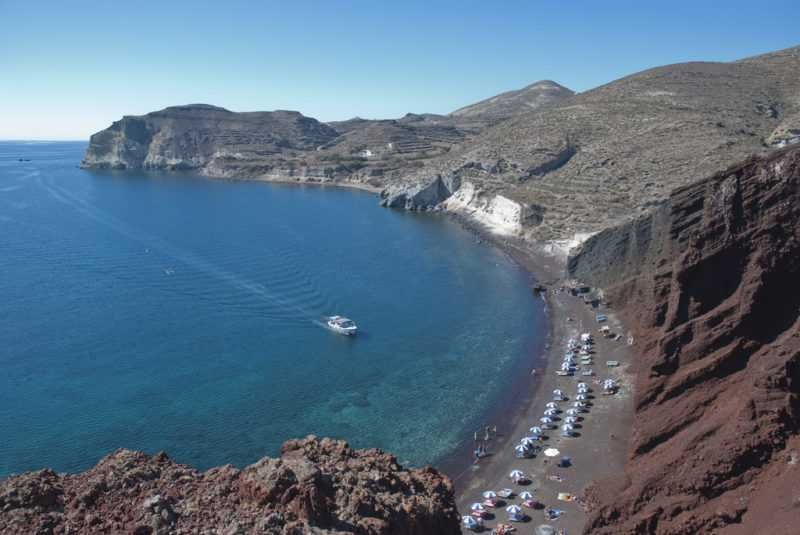 playas, red beach, santorini, oia, islas griegas, ferry, grecia