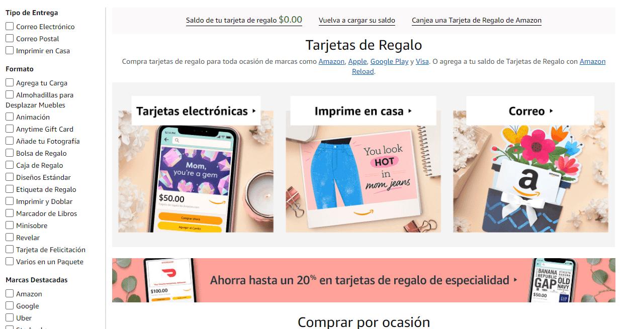 Amazon tarjeta regalo