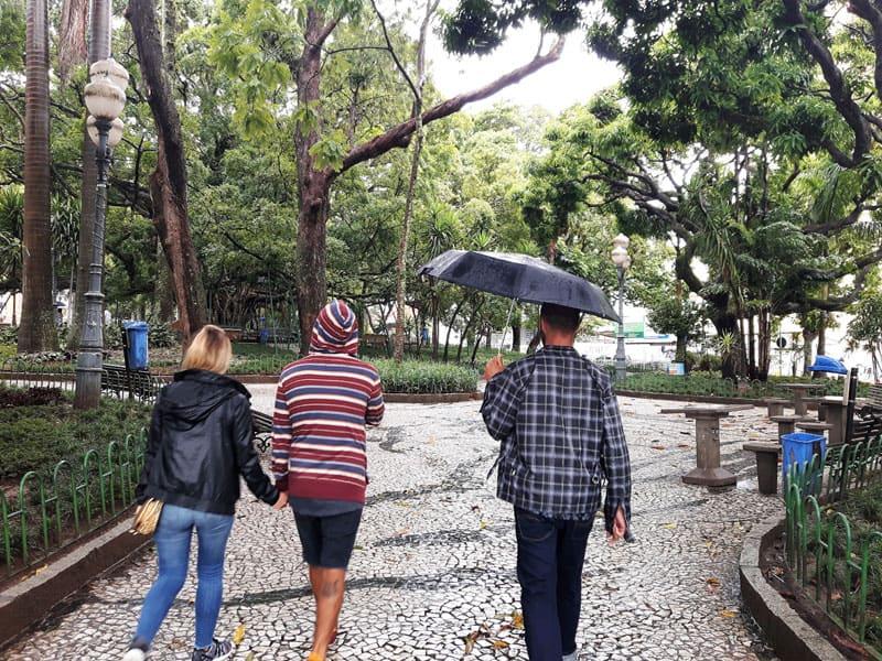 Florianopolis con lluvia, plaza XV de noviembre