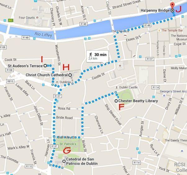 Dublin, Irlanda, dos días en Dublin, qué ver en Dublin, imperdibles Dublin, mapa Dublin, dia 1 pm