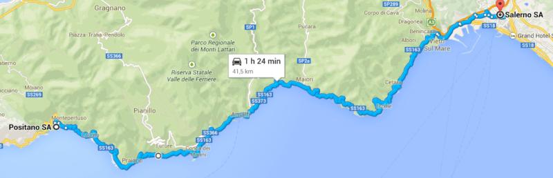 Google Maps Salerno a Positano