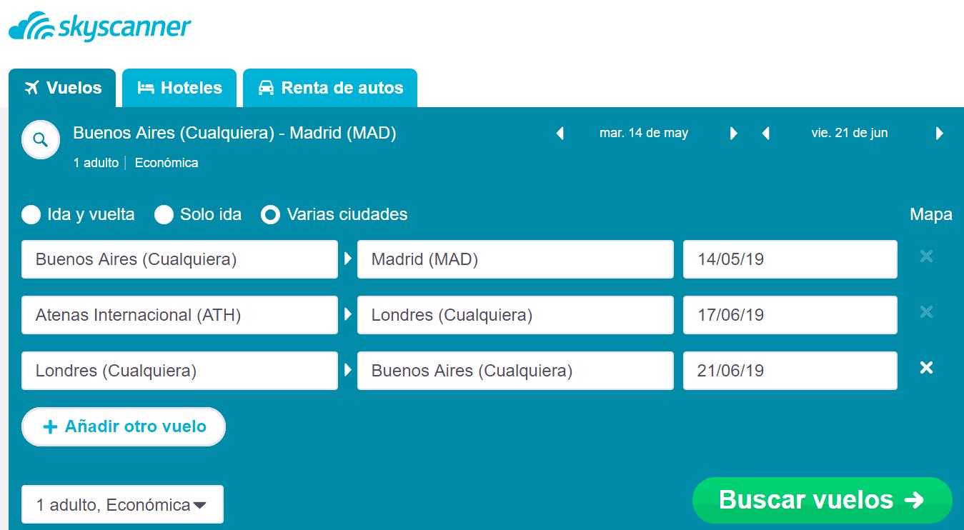 skyscanner, multiciudad, varios destinos, metabuscador, vuelos baratos, como comprar vuelos baratos
